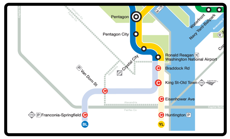 The yellow and blue lines will not service stations past Ronald Reagan Airport.