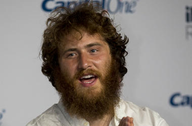 Mike Posner walking on the red carpet at The T-Mobile Arena on September 21, 2018 in Las Vegas, NV.