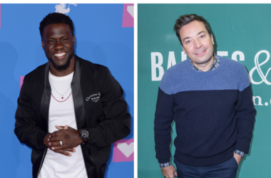 Kevin Hart arriving at the MTV Video Music Awards 2018, Radio City, New York. / Jimmy Fallon booksigning at Barnes & Noble Union Square on October 14, 2017 in New York City.