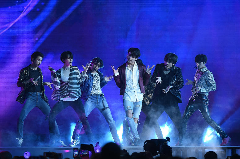 Jungkook, Jimin, V, Suga, Jin, j-hope of BTS perform at the 2018 Billboard Music Awards at MGM Grand Garden Arena on May 20, 2018 in Las Vegas, Nevada.