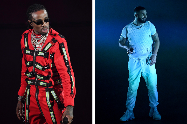Quavo and Drake perform at the AmericanAirlines Arena in Miami, Florida on November 13, 2018