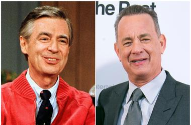 """This combination photo shows Fred Rogers as he rehearses the opening of his PBS show """"Mister Rogers' Neighborhood"""" in Pittsburgh on June 28, 1989, left, and Tom Hanks at the London premiere of the film 'The Post ' on Jan. 10, 2018. Sony Pictures says the"""