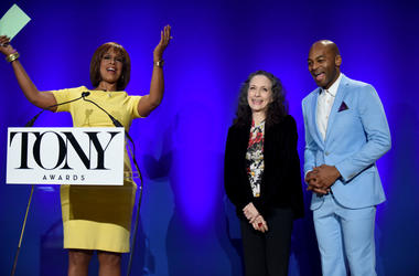 NEW YORK, NEW YORK - APRIL 30: Gayle King, Bebe Neuwirth, and Brandon Victor Dixon speak onstage at The 73rd Annual Tony Awards Nominations Announcement on April 30, 2019 in New York City. (Photo by Jenny Anderson/Getty Images for Tony Awards Productions)