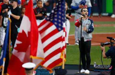 CLEVELAND, OHIO - JULY 09: MAX performs the national anthem prior to the 2019 MLB All-Star Game at Progressive Field on July 09, 2019 in Cleveland, Ohio. (Photo by Kirk Irwin/Getty Images)