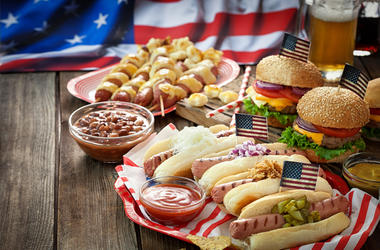 Independence Day 4th of July - Picnic Table - stock photo
