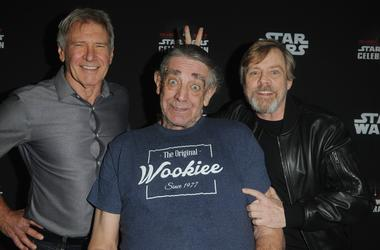 ORLANDO, FL - APRIL 13: Harrison Ford, Peter Mayhew and Mark Hamill attend the 40 Years of Star Wars panel during the 2017 Star Wars Celebrationat Orange County Convention Center on April 13, 2017 in Orlando, Florida. (Photo by Gerardo Mora/Getty Images f