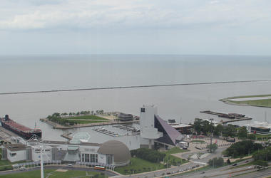 A view from the Rock & Roll hall of fame in Cleveland Ohio from the south, looking north over Lake Erie