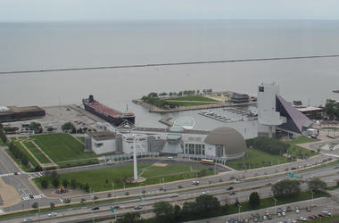 In Downtown Cleveland, the Great Lakes Science Center and Rock and Roll Hall of Fame sit on the edge of Lake Erie