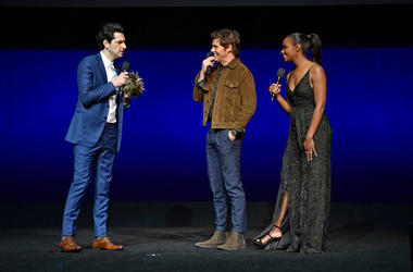 """Ben Schwartz, James Marsden and Tika Sumpter of """"Sonic The Hedgehog"""" attend the Paramount Pictures CinemaCon® 2019 Presentation held at The Colosseum at Caesars Palace on April 04, 2019 in Las Vegas, Nevada"""