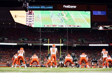 Aug 23, 2018; Cleveland, OH, USA; The Cleveland Browns against the Philadelphia Eagles during the third quarter at FirstEnergy Stadium. The Browns won 5-0. Mandatory Credit: Scott R. Galvin-USA TODAY Sports
