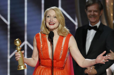 Jan 6, 2019; Beverly Hills, CA, USA; Patricia Clarkson, winner of Best Supporting Actress - Series/Limited Series/TV Movie during the 76th Golden Globe Awards at the Beverly Hilton. Mandatory Credit: Paul Drinkwater/NBC via USA TODAY NETWORK