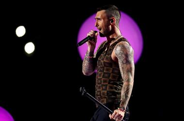Feb 3, 2019; Atlanta, GA, USA; Maroon 5 lead singer Adam Levine performs during the halftime show in Super Bowl LIII between the New England Patriots and the Los Angeles Rams at Mercedes-Benz Stadium. Mandatory Credit: Matthew Emmons-USA TODAY Sports