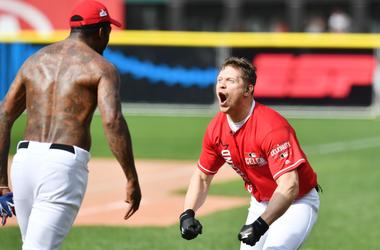 Jul 7, 2019; Cleveland, OH, USA; Team Cleveland's Mike The Miz Mizanin (right) celebrates with J.R. Smith in the 2019 legends and celebrity softball game at Progressive Field. Mandatory Credit: Ken Blaze-USA TODAY Sports