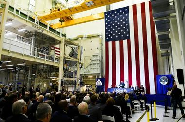 Vice President Mike Pence addresses the crowd on the 50th anniversary of the Apollo 11 moon landing Saturday, July 20, 2019, in the Neil Armstrong Operations and Checkout Building at Kennedy Space Center Apollo 50th Anniversary