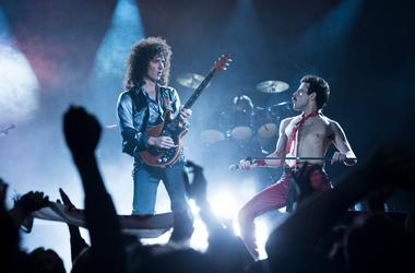 Gwilym Lee (Brian May) and Rami Malek (Freddie Mercury) star in Twentieth Century Fox's BOHEMIAN RHAPSODY.