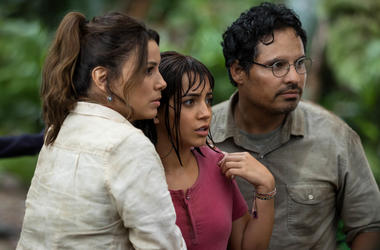 "L-R, Eva Longoria, Isabela Moner and Michael Peña star in Paramount Pictures' ""DORA AND THE LOST CITY OF GOLD."""