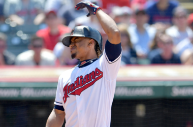 CLEVELAND, OHIO - JULY 21: Francisco Lindor #12 of the Cleveland Indians reacts after a foul ball goes into the stands and hit a fan during the sixth inning against the Kansas City Royals at Progressive Field on July 21, 2019 in Cleveland, Ohio. (Photo by