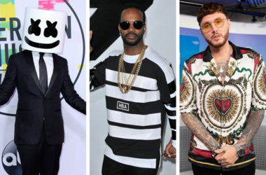 "Marshmello at the 2017 American Music Awards at Microsoft Theater on November 19, 2017 in Los Angeles, California. / Juicy J arrives at the ""Furious 7"" World Premiere held at the TCL Chinese Theatre IMAX /James Arthur in the studio in Wembley Stadium."