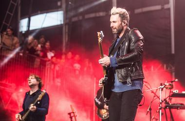 Musicians Adam Levine and Mickey Madden of Maroon 5 perform on Day One of BottleRock Napa Valley 2017 on May 26, 2017 in Napa, California. (Photo by Chris Tuite/ImageSPACE) *** Please Use Credit from Credit Field ***