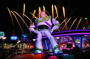 Fireworks launch behind a giant statue of the Buzz Lightyear character at the new Toy Story Land at Disney's Hollywood Studios on Thursday, June 28, 2018 at Walt Disney World in Lake Buena Vista, Fla. Toy Story Land officially opened to guests on Saturday