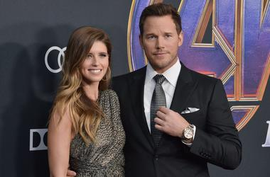"""(L-R) Katherine Schwarzenegger and Chris Pratt at Marvel Studios' """"Avengers: Endgame"""" World Premiere held at the Los Angeles Convention Center in Los Angeles, CA on Monday, April 22, 2019. (Photo By Sthanlee B. Mirador/Sipa USA)"""