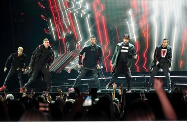 SUNRISE, FL- AUGUST 24: Nick Carter, Kevin Richardson, Brian Littrell, AJ McLean and Howie Dorough perform at the Backstreet Boys DNA World Tour at BB&T Center in Sunrise, Florida on 8/24/2019. (Photo by Ron Elkman/USA TODAY NETWORK/Sipa USA)