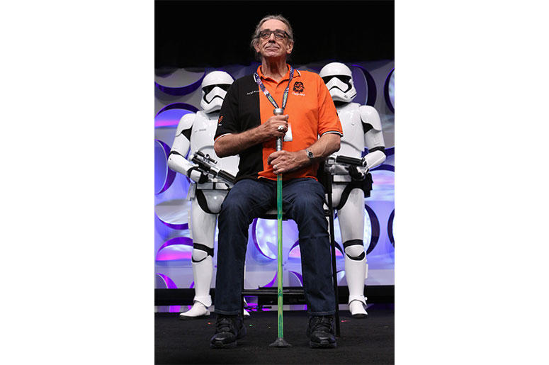 ANAHEIM, CA - APRIL 16: Actor Peter Mayhew speaks onstage during Star Wars Celebration 2015 on April 16, 2015 in Anaheim, California. (Photo by Jesse Grant/Getty Images for Disney)