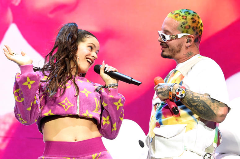 INDIO, CA - APRIL 13: Rosalia and J Balvin perform at Coachella Stage during the 2019 Coachella Valley Music And Arts Festival on April 13, 2019 in Indio, California. (Photo by Kevin Winter/Getty Images for Coachella)