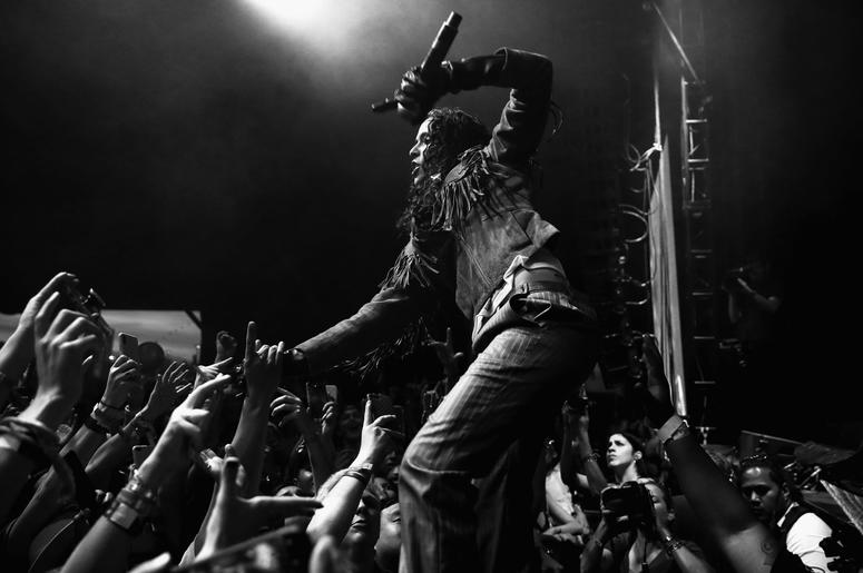 INDIO, CA - APRIL 14: (EDITORS NOTE: Image has been converted to black and white.) Danielle Balbuena of 070 Shake performs at Gobi Tent during the 2019 Coachella Valley Music And Arts Festival on April 14, 2019 in Indio, California. (Photo by Rich Fury/Ge