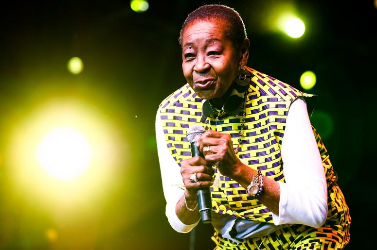 INDIO, CALIFORNIA - APRIL 12: (EDITORS NOTE: Image has been processed using digital filters.) Calypso Rose performs at Gobi tent during the 2019 Coachella Valley Music And Arts Festival on April 12, 2019 in Indio, California. (Photo by Rich Fury/Getty Ima