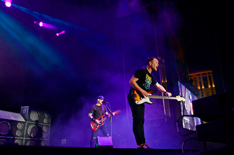 ATLANTIC CITY, NJ - JUNE 30: Mark Hoppus (R) and Matt Skiba of Blink-182 performs during the second and final day of Warped Tour on June 30, 2019 in Atlantic City, New Jersey. (Photo by Corey Perrine/Getty Images)