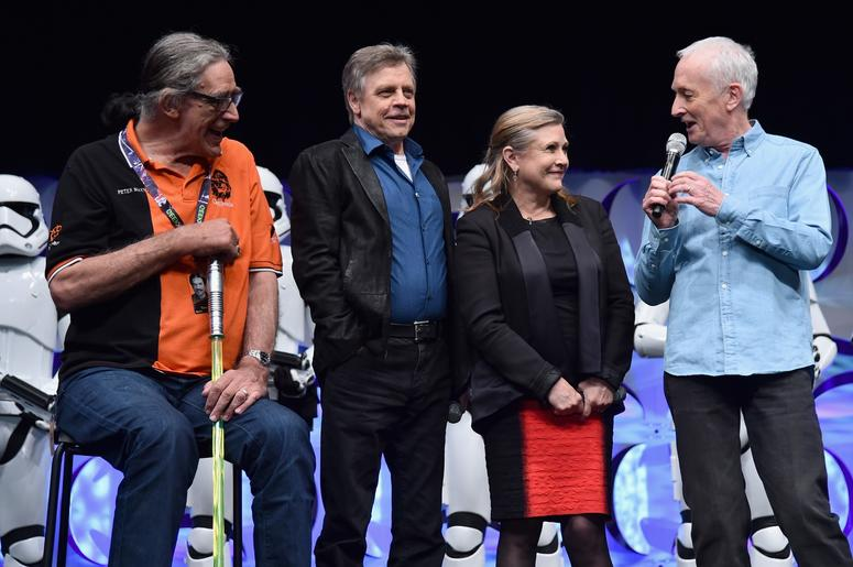 ANAHEIM, CA - APRIL 16: (L-R) Actors Peter Mayhew, Mark Hamill, Carrie Fisher and Anthony Daniels speak onstage during Star Wars Celebration 2015 on April 16, 2015 in Anaheim, California. (Photo by Alberto E. Rodriguez/Getty Images for Disney)