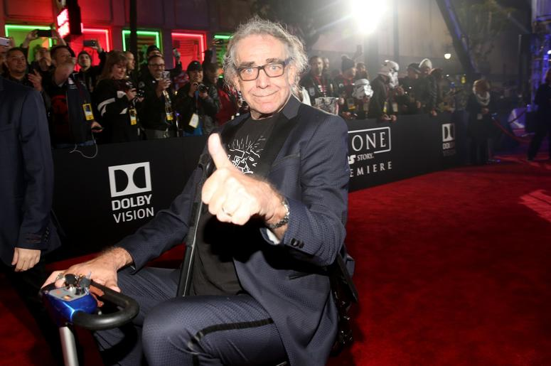 """HOLLYWOOD, CA - DECEMBER 10: Actor Peter Mayhew attends The World Premiere of Lucasfilm's highly anticipated, first-ever, standalone Star Wars adventure, """"Rogue One: A Star Wars Story"""" at the Pantages Theatre on December 10, 2016 in Hollywood, California."""