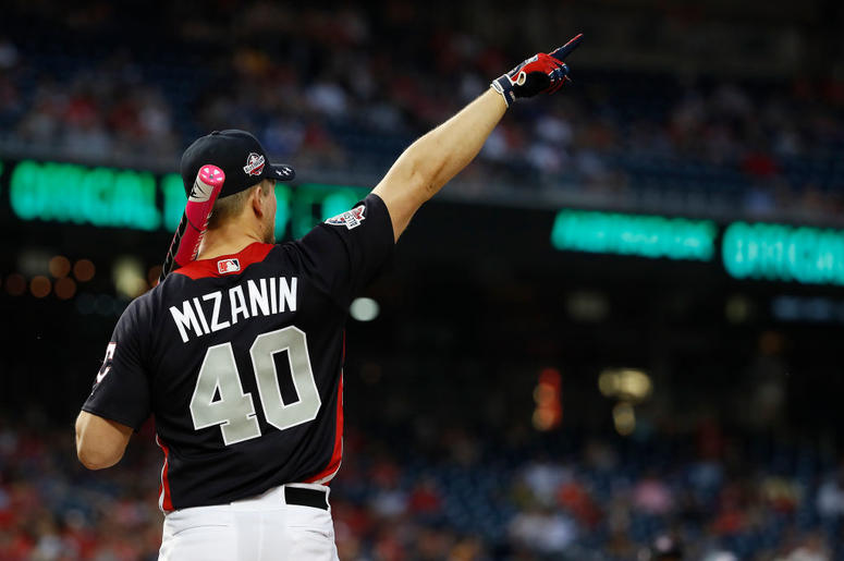 WASHINGTON, DC - JULY 15: Mike 'The Miz' Mizanin prepares to bat during the All-Star and Legends Celebrity Softball Game at Nationals Park on July 15, 2018 in Washington, DC. (Photo by Patrick McDermott/Getty Images)