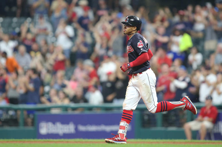 Sep 20, 2018; Cleveland, OH, USA; Cleveland Indians shortstop Francisco Lindor (12) circles the bases on a solo home run against the Chicago White Sox during the third inning at Progressive Field. The White Sox won 5-4 in eleven innings. Mandatory Credit: