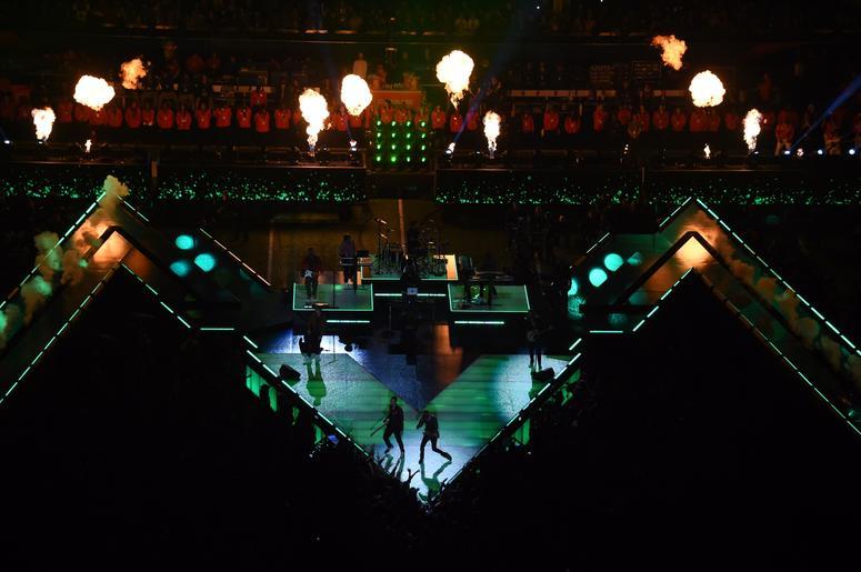 Feb 3, 2019; Atlanta, GA, USA; Maroon 5 lead singer Adam Levine and recording artist Travis Scott perform in Super Bowl LIII at Mercedes-Benz Stadium. Mandatory Credit: Richard Mackson-USA TODAY Sports