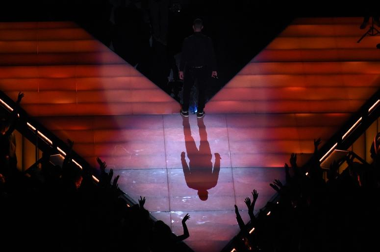 Feb 3, 2019; Atlanta, GA, USA; Maroon 5 lead singer Adam Levine performs in Super Bowl LIII at Mercedes-Benz Stadium. Mandatory Credit: Richard Mackson-USA TODAY Sports