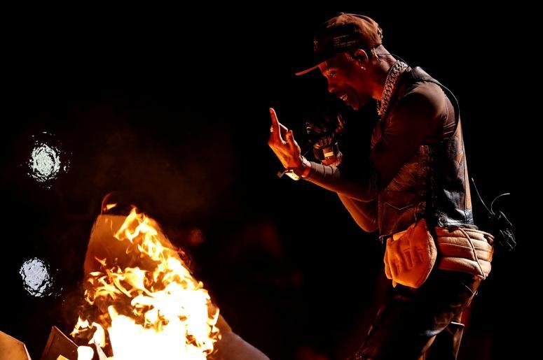 Feb 3, 2019; Atlanta, GA, USA; Recording artist Travis Scott preforms during the halftime show in Super Bowl LIII at Mercedes-Benz Stadium. Mandatory Credit: Matthew Emmons-USA TODAY Sports