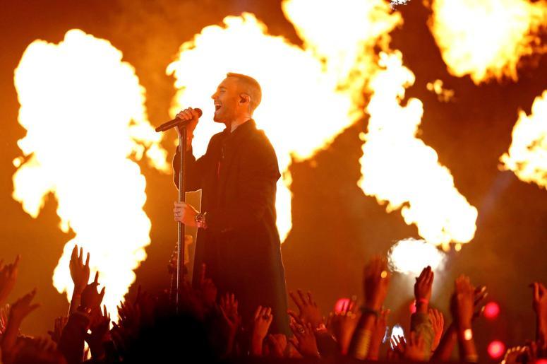 Feb 3, 2019; Atlanta, GA, USA; Maroon 5 lead singer Adam Levine performs during the halftime show in Super Bowl LIII at Mercedes-Benz Stadium. Mandatory Credit: Matthew Emmons-USA TODAY Sports