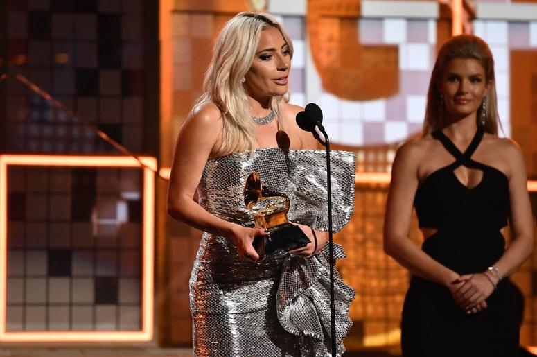 February 10, 2019; Los Angeles, CA, USA; Lady Gaga accepts the award for Best Pop Duo/Group Performance for Shallow during the 61st Annual GRAMMY Awards on Feb. 10, 2019 at STAPLES Center in Los Angeles, Calif. Mandatory Credit: Robert Hanashiro-USA TODAY