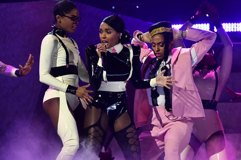 February 10, 2019; Los Angeles, CA, USA; Janelle Monae performs Make Me Feel during the 61st Annual GRAMMY Awards on Feb. 10, 2019 at STAPLES Center in Los Angeles, Calif. Mandatory Credit: Robert Hanashiro-USA TODAY NETWORK
