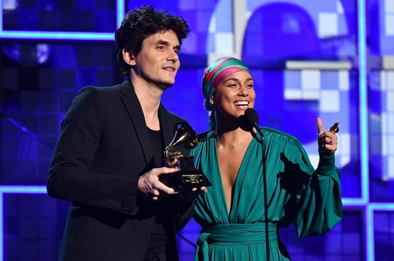 February 10, 2019; Los Angeles, CA, USA; John Mayer and Alicia Keys present the award for Song of the Year during the 61st Annual GRAMMY Awards on Feb. 10, 2019 at STAPLES Center in Los Angeles, Calif. Mandatory Credit: Robert Hanashiro-USA TODAY NETWORK
