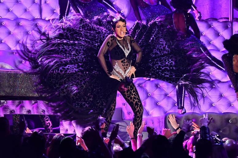 """February 10, 2019; Los Angeles, CA, USA; Cardi B performs \""""Money\"""" during the 61st Annual GRAMMY Awards on Feb. 10, 2019 at STAPLES Center in Los Angeles, Calif. Mandatory Credit: Robert Hanashiro-USA TODAY NETWORK"""