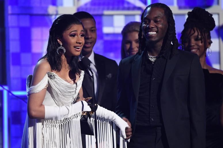 February 10, 2019; Los Angeles, CA, USA; Cardi B accepts the award for Best Rap Album for 'Invasion Of Privacy' with Offset (r) joining her onstage during the 61st Annual GRAMMY Awards on Feb. 10, 2019 at STAPLES Center in Los Angeles, Calif. Mandatory Cr