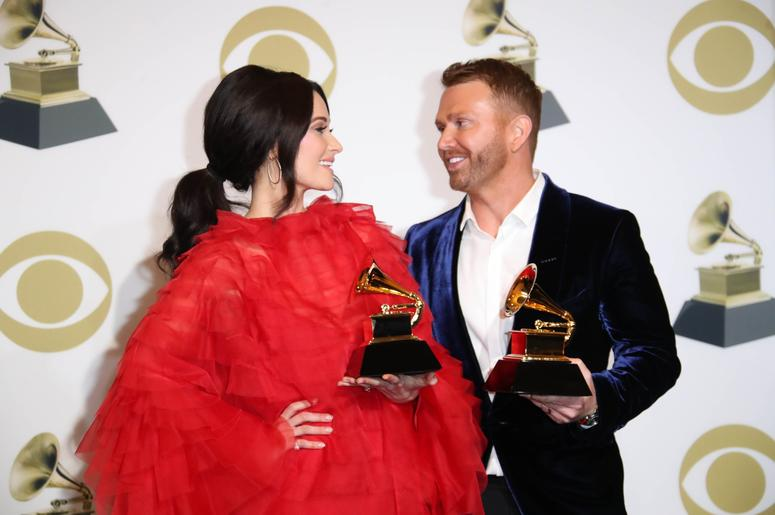 February 10, 2019; Los Angeles, CA, USA; Kacey Musgraves, left and Shane McAnally pose with their awards for Best Country Song for Space Cowboy in the photo room during the 61st Annual GRAMMY Awards on Feb. 10, 2019 at STAPLES Center in Los Angeles, Calif