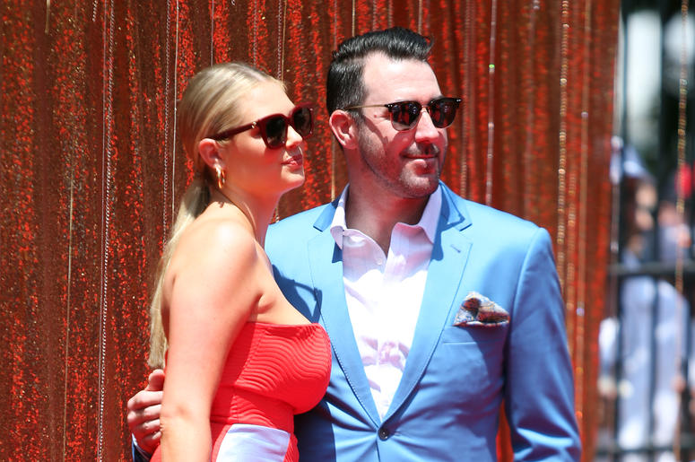 Jul 9, 2019; Cleveland, OH, USA; American League pitcher Justin Verlander of the Houston Astros with his wife Kate Upton on the red carpet prior to the 2019 MLB All Star Game at Progressive Field. Mandatory Credit: Charles LeClaire-USA TODAY Sports