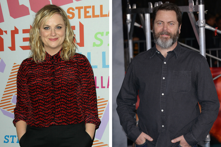 """Nick Offerman arriving at the """"Kong: Skull Island"""" Los Angeles Premiere held at the Dolby Theatre in Hollywood, CA on Wednesday, March 8, 2017. / Amy Poehler. Stella McCartney Autumn 2018 Presentation held at S.I.R. Studios in Los Angeles."""