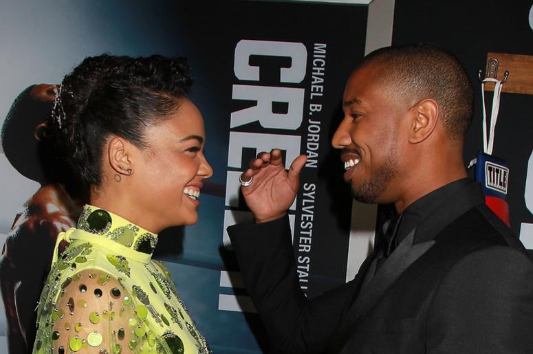 Michael B Jordan and Tessa Thompson