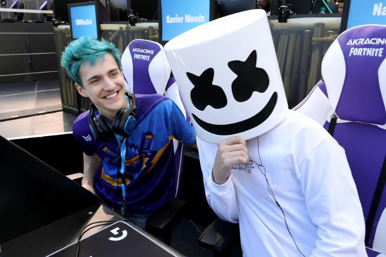Gamers 'Ninja' and 'Marshmello' pose together during the Epic Games Fortnite E3 Tournament at the Banc of California Stadium on June 12, 2018 in Los Angeles, California.