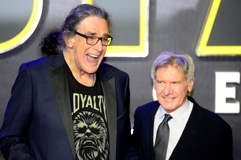 12/16/2015 - Peter Mayhew and Harrison Ford attending the Star Wars: The Force Awakens European Premiere held in Leicester Square, London. PRESS ASSOCIATION Photo. See PA story SHOWBIZ StarWars. Picture date: Wednesday December 16, 2015. Photo credit shou